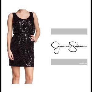 NWT Jessica Simpson 10 Black Sequined Mini Dress